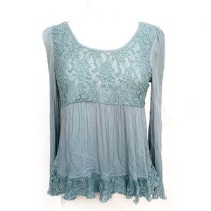 🌸🌵🌼Patrons of Peace | Teal Lace along Sleeve M